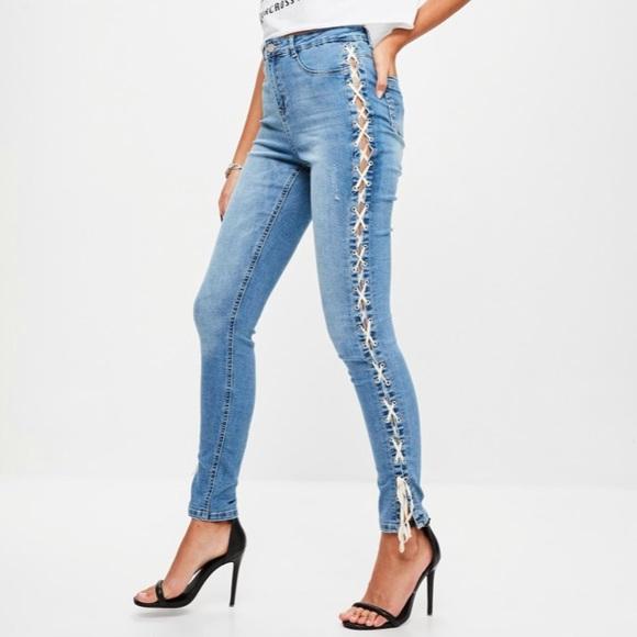 726a990f103 blue sinner high waist lace side skinny jeans